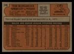 1972 Topps #246  Tom Burgmeier  Back Thumbnail
