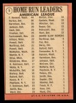 1969 Topps #5   -  Frank Howard / Willie Horton / Ken Harrelson AL HR Leaders   Back Thumbnail