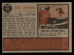 1962 Topps #285  Curt Simmons  Back Thumbnail