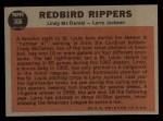 1962 Topps #306   -  Lindy McDaniel / Larry Jackson Redbird Rippers Back Thumbnail