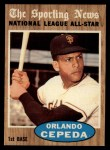 1962 Topps #390   -  Orlando Cepeda  All-Star Front Thumbnail