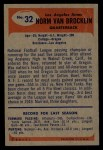 1955 Bowman #32  Norm Van Brocklin  Back Thumbnail
