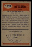 1955 Bowman #128  Jim Salsbury  Back Thumbnail