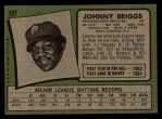 1971 Topps #297  Johnny Briggs  Back Thumbnail