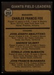 1973 Topps #252 ORG  -  Charlie Fox / Joe Amalfitano / Andy Gilbert / Don McMahon / John McNamara Giants Leaders Back Thumbnail