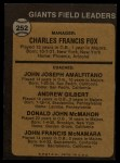 1973 Topps #252 ^ORG^  -  Charlie Fox / Joe Amalfitano / Andy Gilbert / Don McMahon / John McNamara Giants Leaders Back Thumbnail