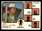 1973 Topps #179 ^ORG^  -  Dick Williams / Jerry Adair / Vern Hoscheit / Irv Noren / Wes Stock A's Leaders Front Thumbnail