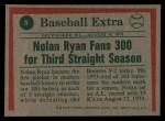 1975 Topps #5   -  Nolan Ryan Ryan Fans 300 - 3rd Year in Row Back Thumbnail