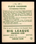 1933 Goudey #229  Arky Vaughan  Back Thumbnail
