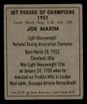 1951 Berk Ross #12 B  -  Joe Maxim Boxer Back Thumbnail