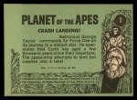 1969 Topps Planet of the Apes #1   Crash Landing Back Thumbnail