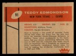 1960 Fleer #91  Teddy Edmondson  Back Thumbnail
