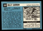 1964 Topps #69  Billy Cannon  Back Thumbnail