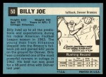 1964 Topps #50  Billy Joe  Back Thumbnail