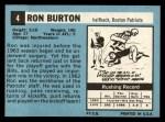 1964 Topps #4  Ron Burton  Back Thumbnail