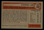 1954 Bowman #187  Vern Law  Back Thumbnail