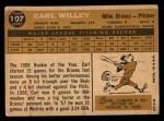1960 Topps #107  Carlton Willey  Back Thumbnail