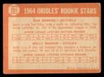 1964 Topps #201   -  Wally Bunker / Sam Bowens Orioles Rookies Back Thumbnail