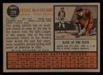1962 Topps #229  Jesus McFarlane  Back Thumbnail