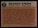 1962 Topps #399   -  Warren Spahn All-Star Back Thumbnail