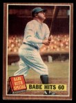 1962 Topps #139 DRT  -  Babe Ruth  Babe Hits 60 Front Thumbnail