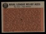 1962 Topps #423   -  Roy Face / Hoyt Wilhelm Rival League Relief Aces Back Thumbnail
