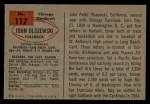 1954 Bowman #117  John Olszewski  Back Thumbnail