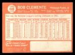 1964 Topps #440  Roberto Clemente  Back Thumbnail