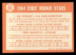 1964 Topps #408   -  Jim Stewart / Fred Burdette Cubs Rookies Back Thumbnail