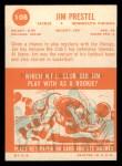 1963 Topps #108  Jim Prestel  Back Thumbnail