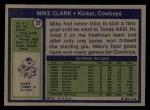 1972 Topps #27  Mike Clark  Back Thumbnail