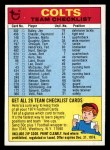 1974 Topps  Checklist   Colts Front Thumbnail