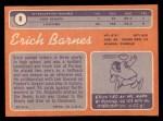 1970 Topps #8  Erich Barnes  Back Thumbnail