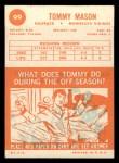 1963 Topps #99  Tommy Mason  Back Thumbnail
