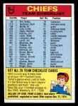 1974 Topps Football Team Checklists #12   Chiefs Team Checklist Front Thumbnail