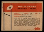 1960 Fleer #65  Willie Evans  Back Thumbnail