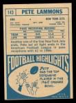 1968 Topps #143  Pete Lammons  Back Thumbnail