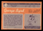1970 Topps #119  George Byrd  Back Thumbnail
