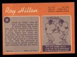1970 Topps #38  Roy Hilton  Back Thumbnail