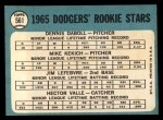 1965 Topps #561   -  Mike Kekich / Jim LeFebvre / Hector Valle / Dennis Daboll Dodgers Rookies Back Thumbnail