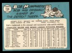 1965 Topps #154  Bob Humphreys  Back Thumbnail
