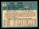 1965 Topps #430  Gary Peters  Back Thumbnail