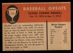 1961 Fleer #149  Rube Waddell  Back Thumbnail