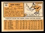 1963 Topps #105 ^COR^ Ron Fairly  Back Thumbnail
