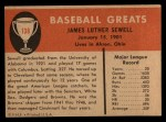 1961 Fleer #138  Luke Sewell  Back Thumbnail