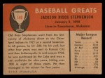 1961 Fleer #140  Riggs Stephenson  Back Thumbnail