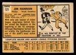 1963 Topps #121 *ERR* Jim Hannan  Back Thumbnail