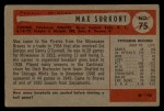 1954 Bowman #75  Max Surkont  Back Thumbnail