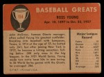1961 Fleer #154  Ross Young  Back Thumbnail