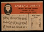 1961 Fleer #134  George Pipgras  Back Thumbnail